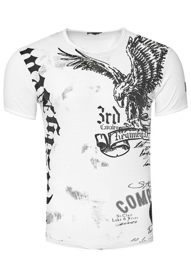 MIT ADLER-PRINT - T-shirt print - weiß