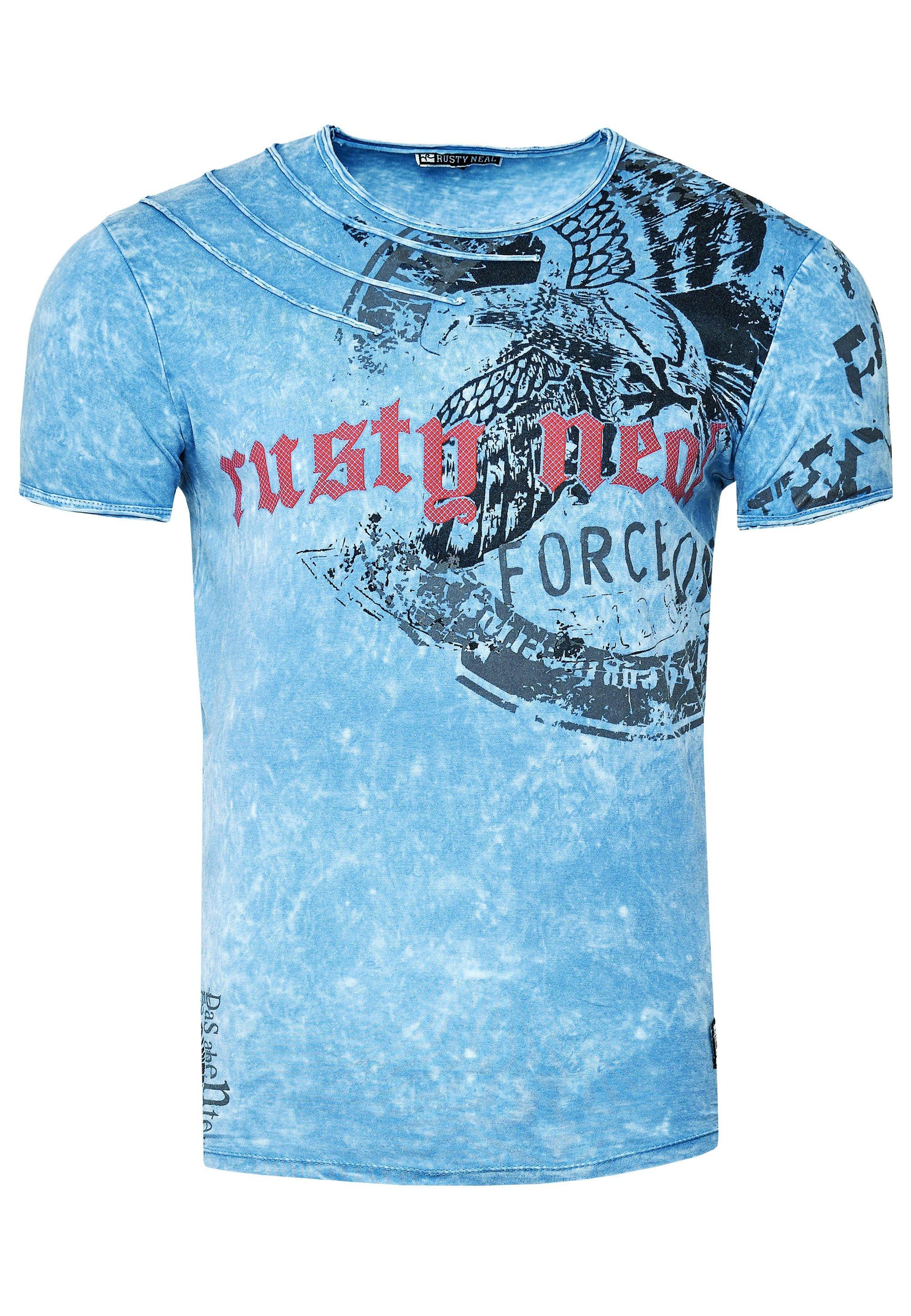 Rusty Neal T-shirt print - blau  Heren shirts UE0kA