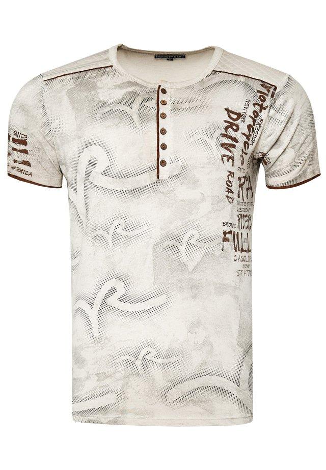 MIT MODERNEM PRINT - T-shirt print - beige