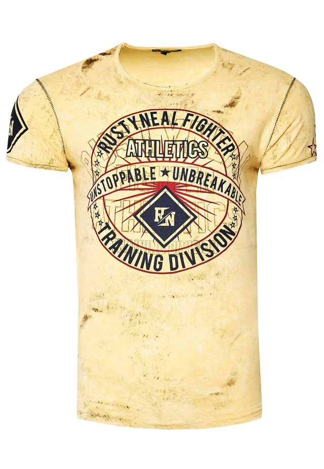 MIT MODERNEM PRINT - Print T-shirt - gelb
