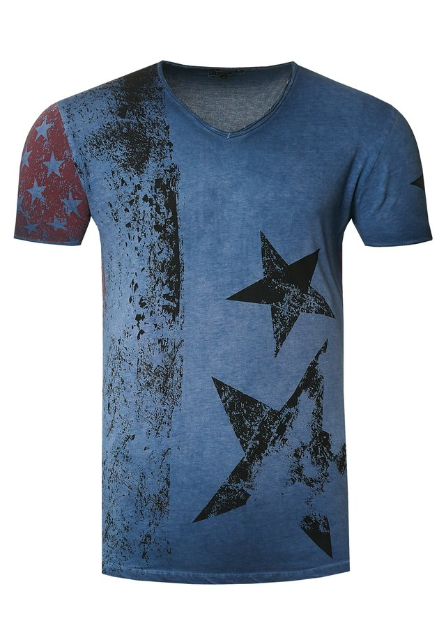 MIT V-NECK AUSSCHNITT - T-shirt print - indigo