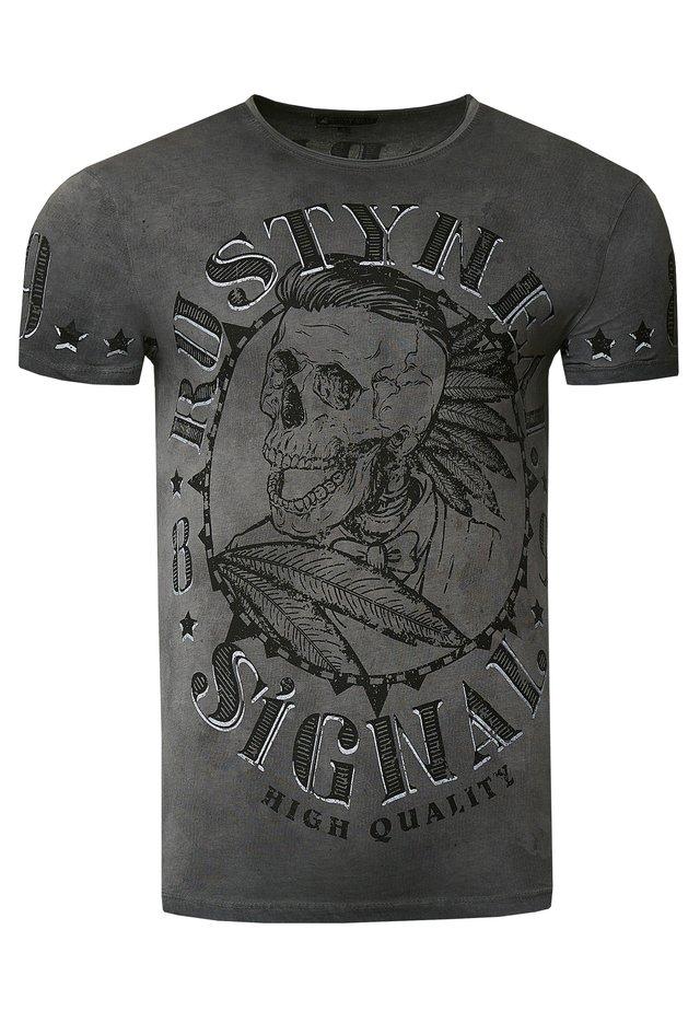 MIT STYLISCHEM TOTENKOPF - Print T-shirt - anthrazit