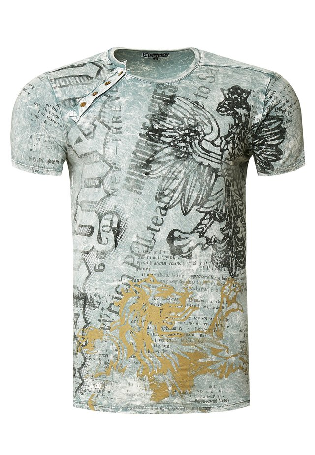 MIT ALL OVER PRINT ADLER DRUCK - Print T-shirt - grau