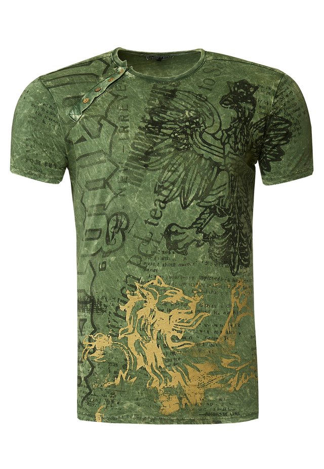 MIT ALL OVER PRINT ADLER DRUCK - Print T-shirt - khaki