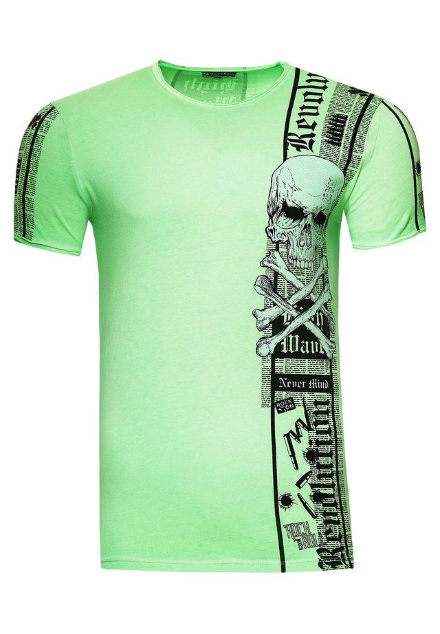 IM VERWASCHENEN LOOK - Print T-shirt - neon grün