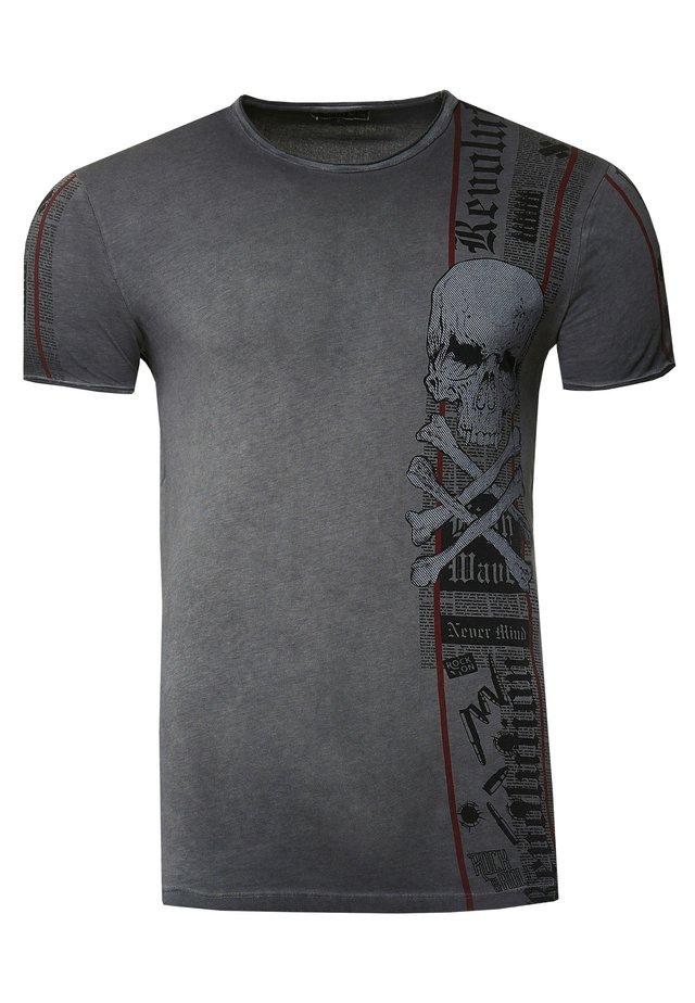 IM VERWASCHENEN LOOK - Print T-shirt - schwarz