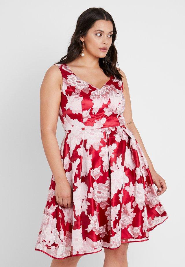DRESS - Vestito elegante - weinrot/cremeweiß