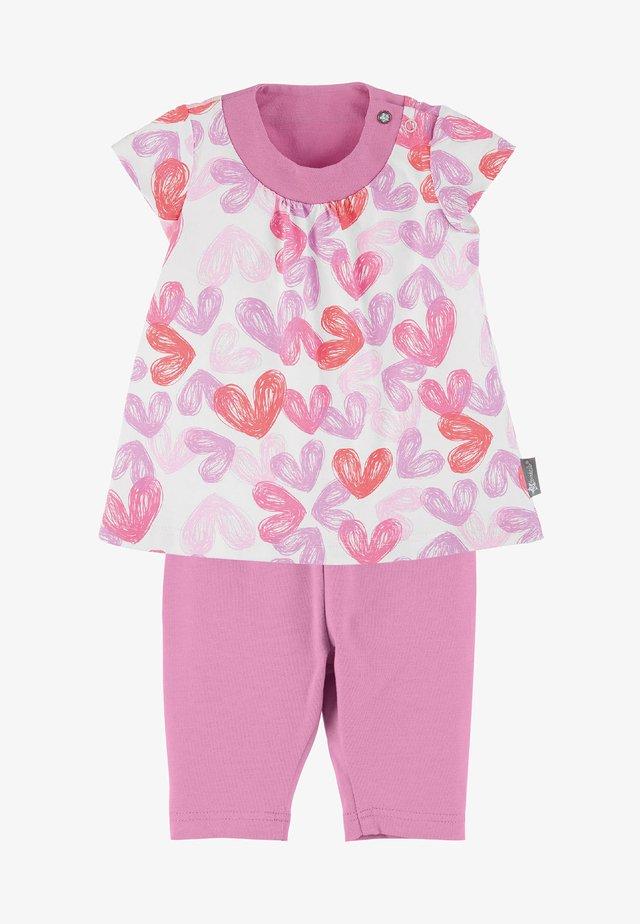 JERSEY TUNIKA MIT PASSENDER LEGGINGS - Leggings - Trousers - light pink/off-white