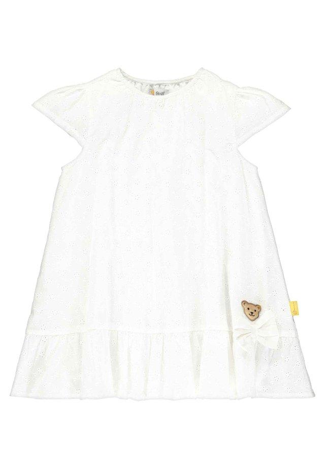 STEIFF COLLECTION KLEID MIT AJOUR-BLÜTENMUSTER - Day dress - bright white