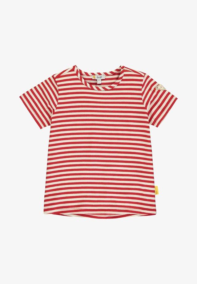 MIT STREIFEN UND TEDDYBÄRMOTIV - T-shirt print - pink