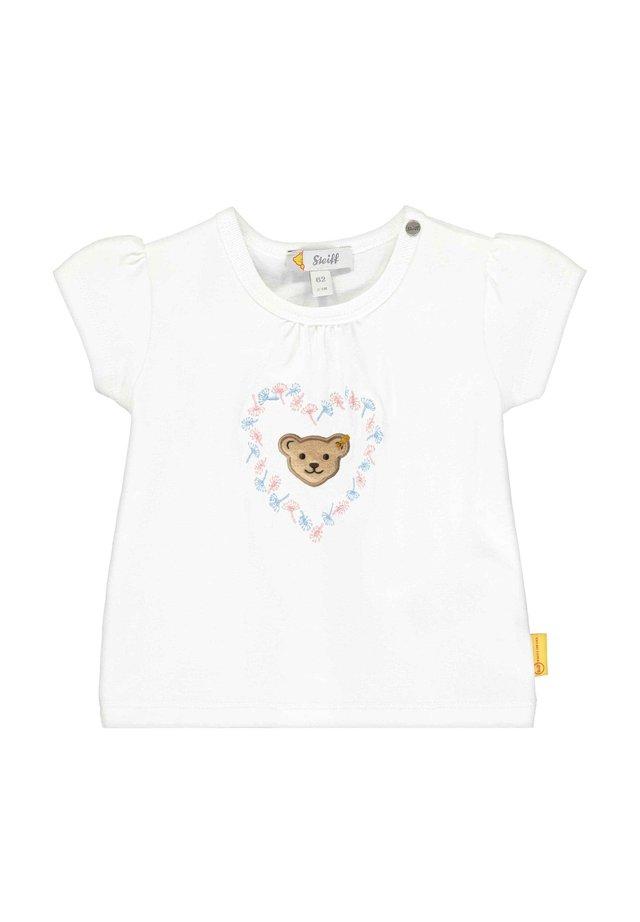 STEIFF COLLECTION T-SHIRT MIT BLÜTENMOTIVE - Print T-shirt - bright white