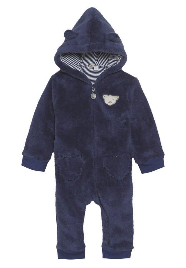 FLUFFY BEAR EARS ONEPIECE BABY - Tuta jumpsuit - blue