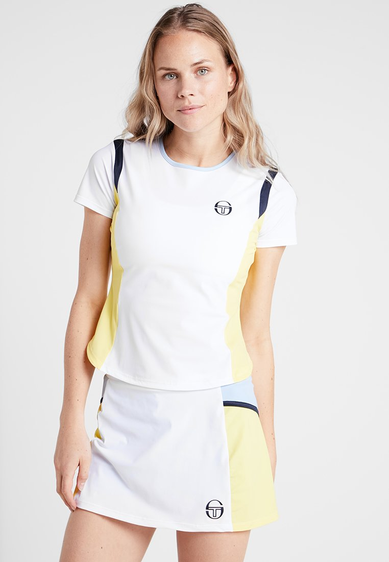 sergio tacchini - GRACET - T-shirt z nadrukiem - white/light yellow