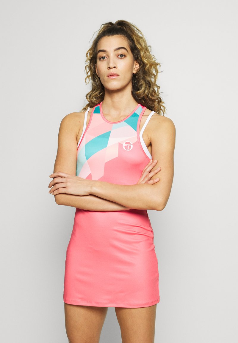 sergio tacchini - TANGRAM DRESS - Sportklänning - coral pink/multicolor