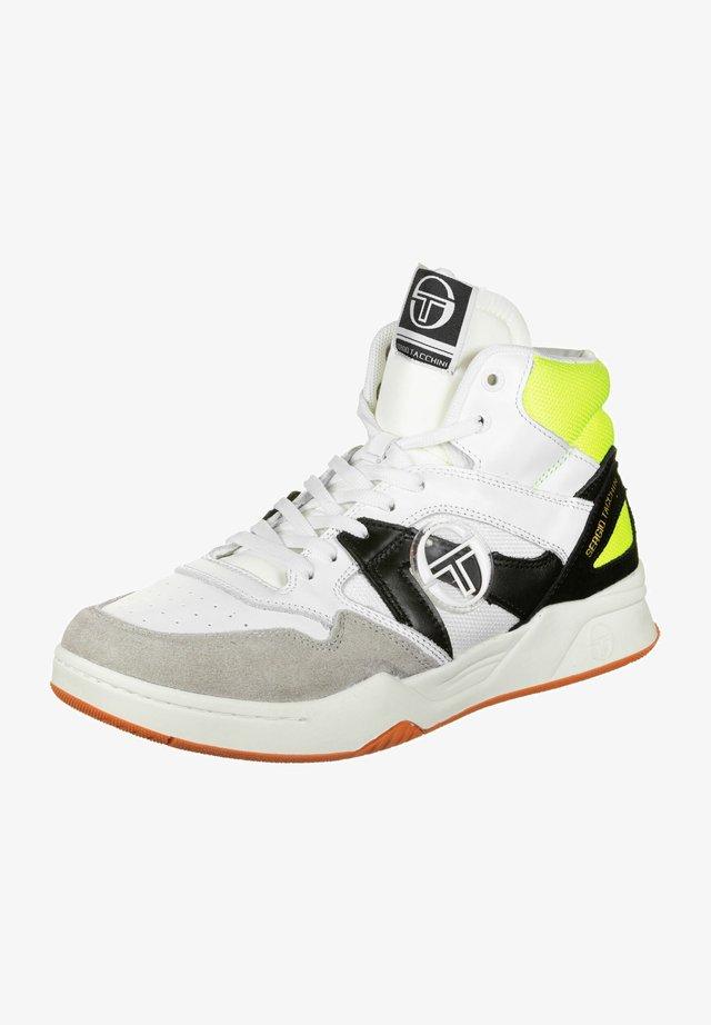 GARETH MID ACTION - Sneaker high - white/black/neon yellow