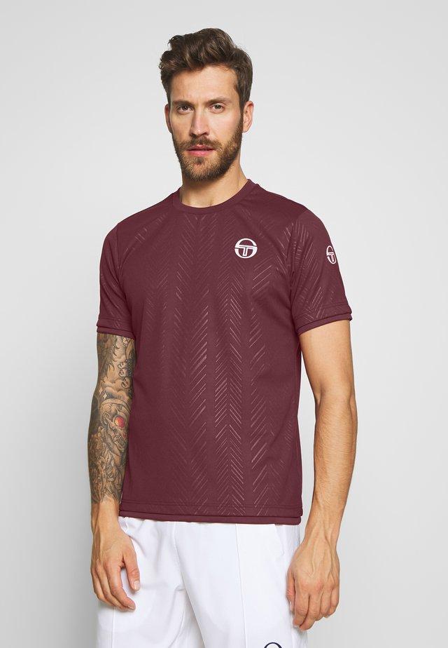 CHEVRON - T-Shirt print - bordeaux/white