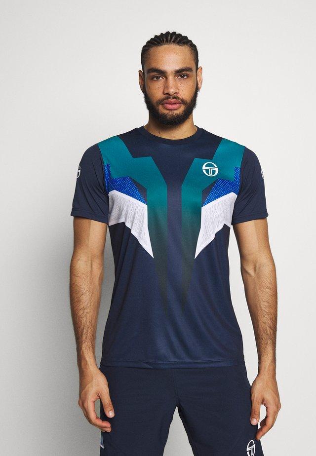 T-shirt z nadrukiem - navy/royal