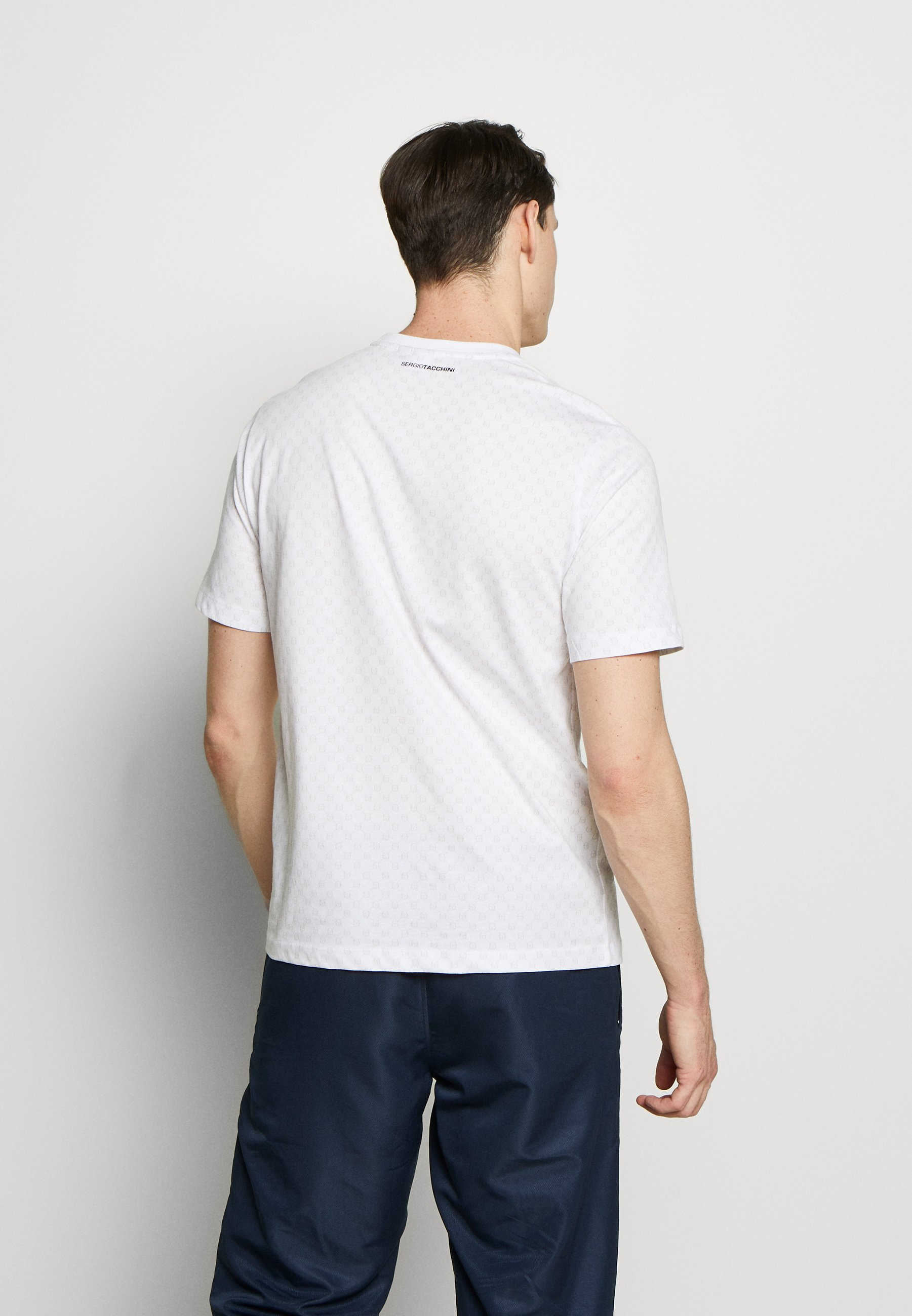 sergio tacchini DIN T-SHIRT - T-shirt con stampa - white/navy