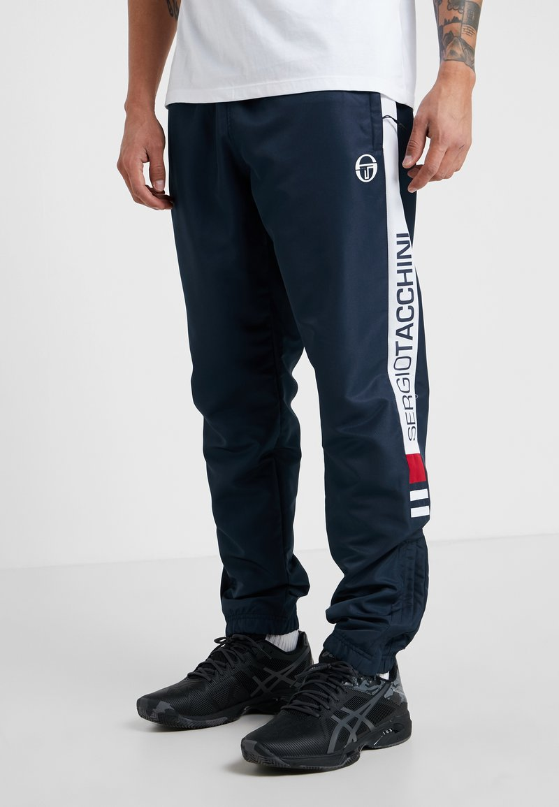 sergio tacchini - DEANE PANTS - Träningsbyxor - navy/white