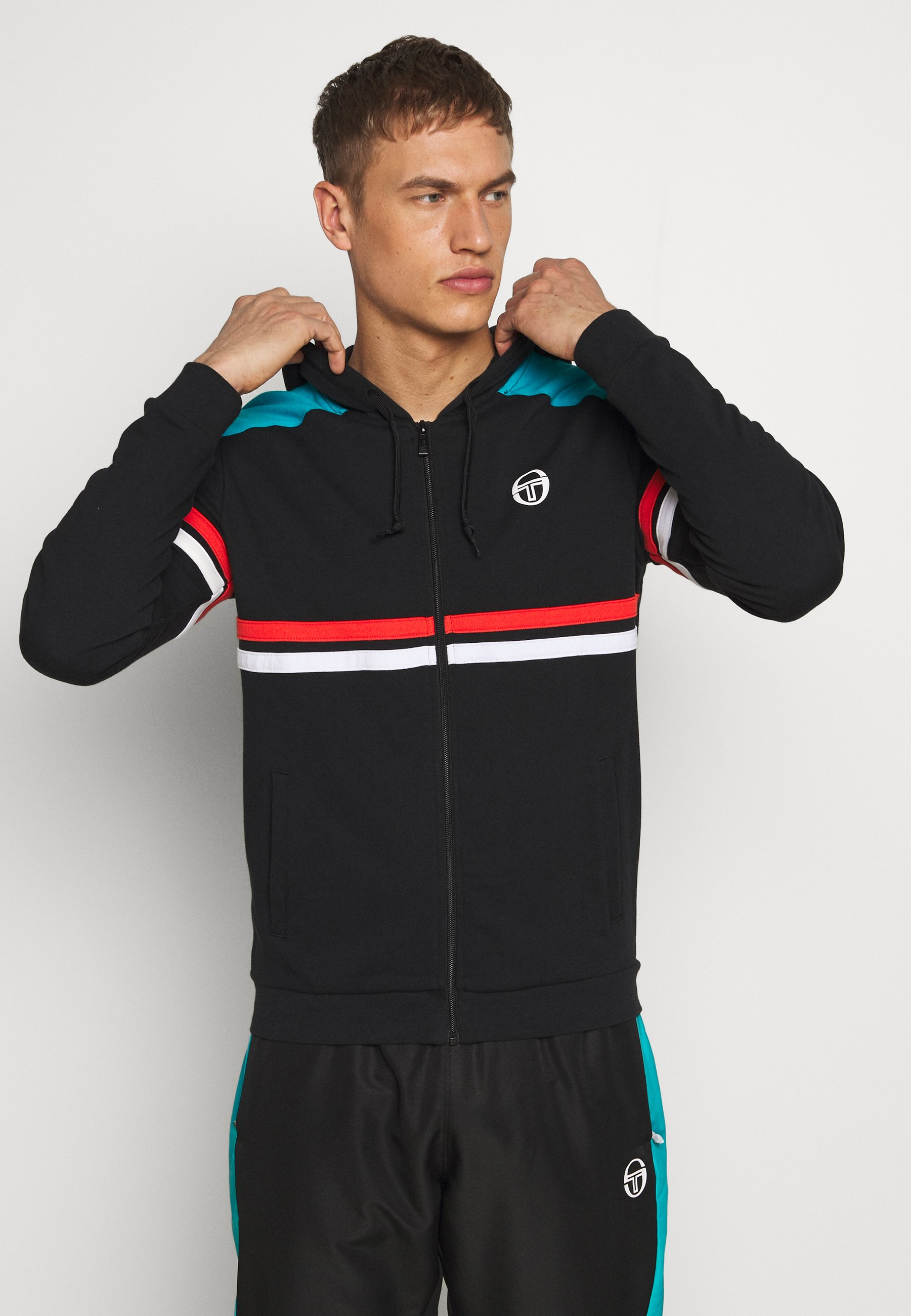 sergio tacchini FINN HOODIE SWEATER - Bluza - black/flash orange