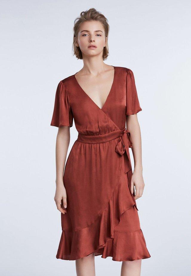 Korte jurk - terracotta