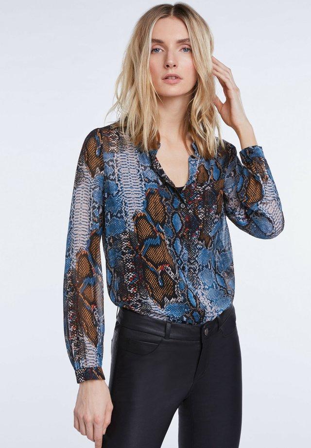 Button-down blouse - dark blue/camel