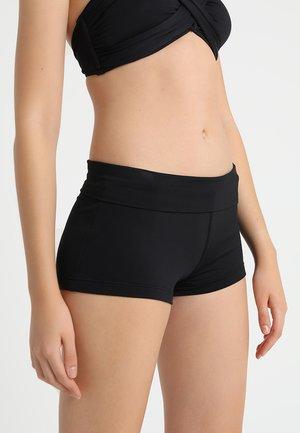 ROLL TOP BOYLEG - Bikini bottoms - black