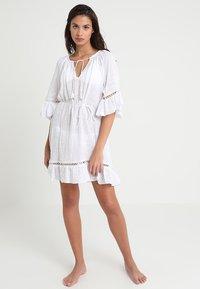 Seafolly - STRIPE BELL SLEEVE COVER UP - Accessoire de plage - white - 1