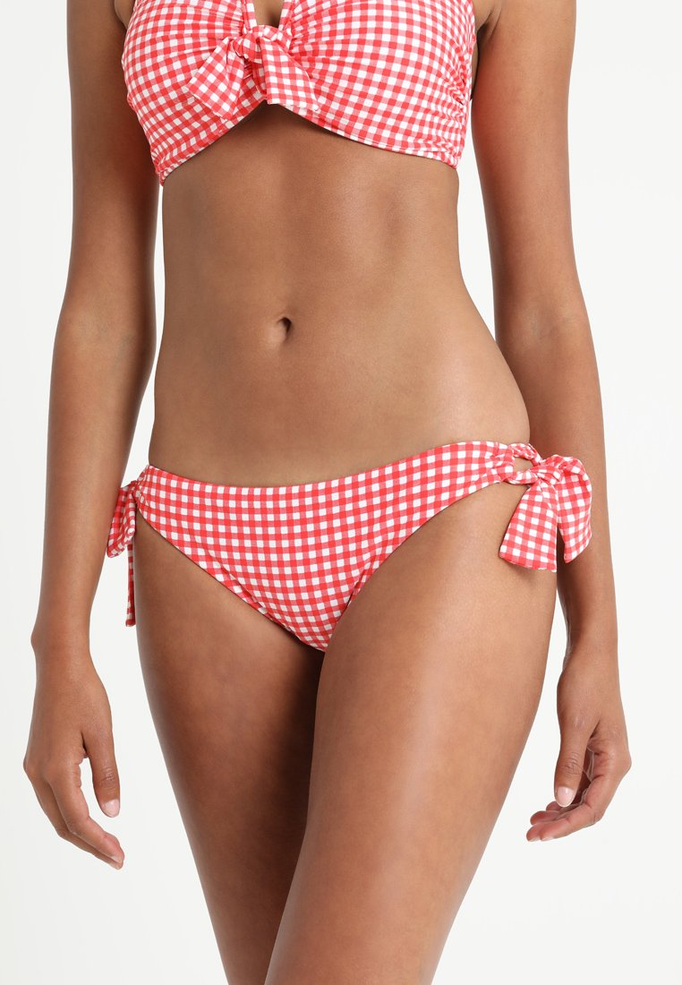 Seafolly - CAPRI CHECK LOOP TIE SIDE HIPSTER - Bikini-Hose - chilli