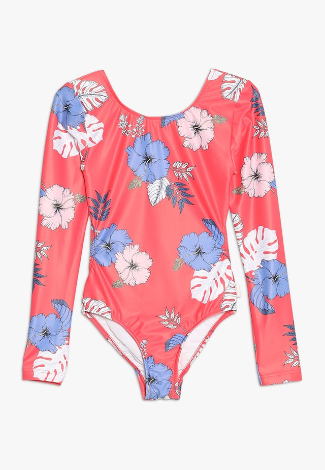 TROPICAL VIBES CUT OUT SURF TANK - Badedragter - hibiscus red
