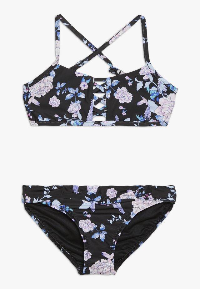 FLORAL CROSS FRONT TANKINI SET - Bikini - black