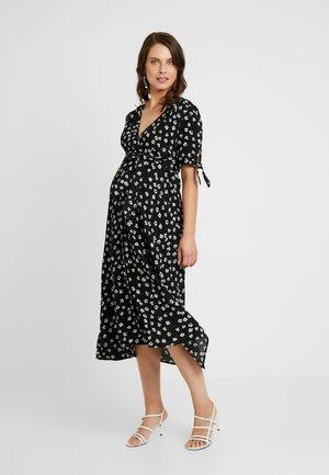 BESSIE MIDI WRAP DRESS - Korte jurk - black
