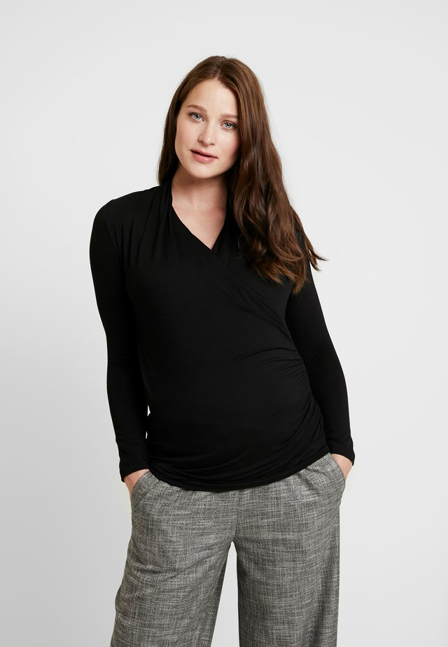 MELANIE MOCK WRAP - Long sleeved top - black