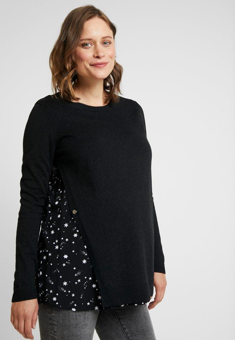 Seraphine - CYNTHIA - Stickad tröja - black melange