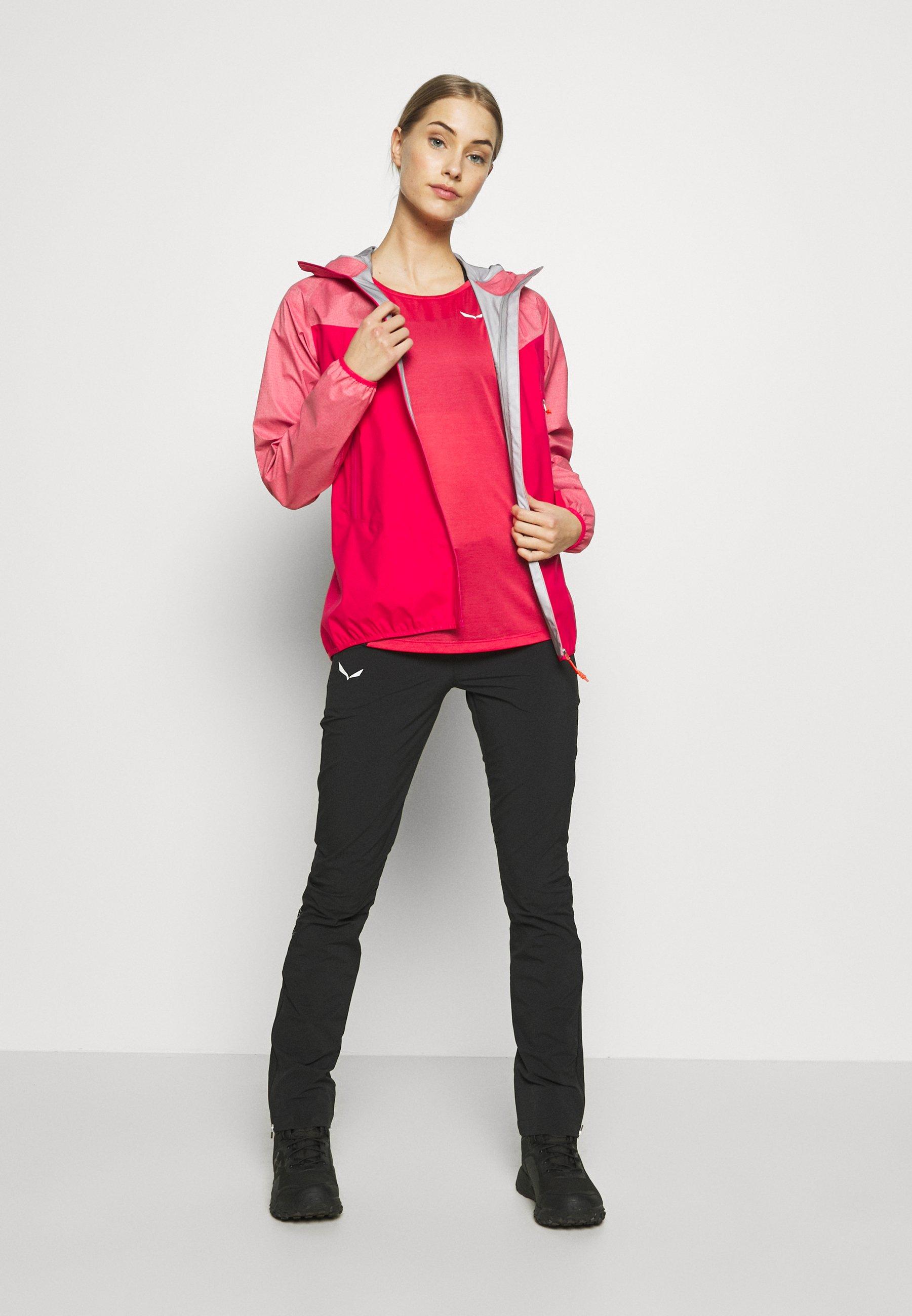 Salewa PUEZ DRY TEE - T-shirt z nadrukiem - rose/red melange