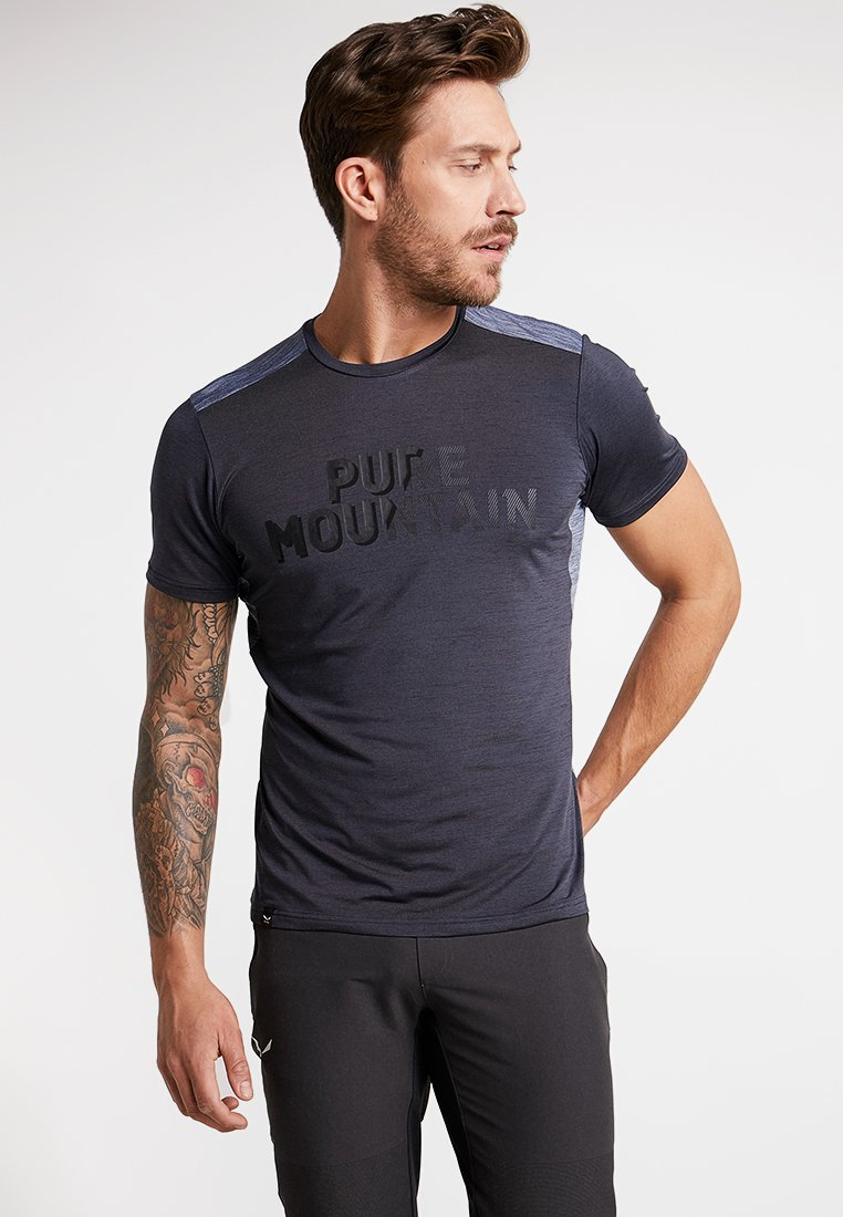 Salewa - PUEZ HYBRID DRY TEE - Print T-shirt - ombre blue melange