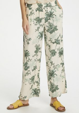 ADASZ  PANTS SUMMER PALM PRINT - Trousers - cream