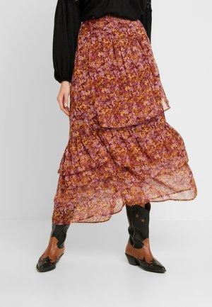 WOVEN MAXI SKIRT - Pleated skirt - rubin