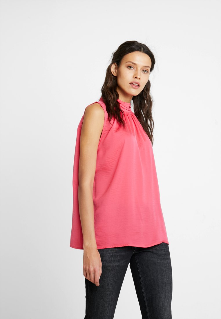Saint Tropez - BLOUSE WITH HIGH COLLAR DETAIL - Blouse - pink grape