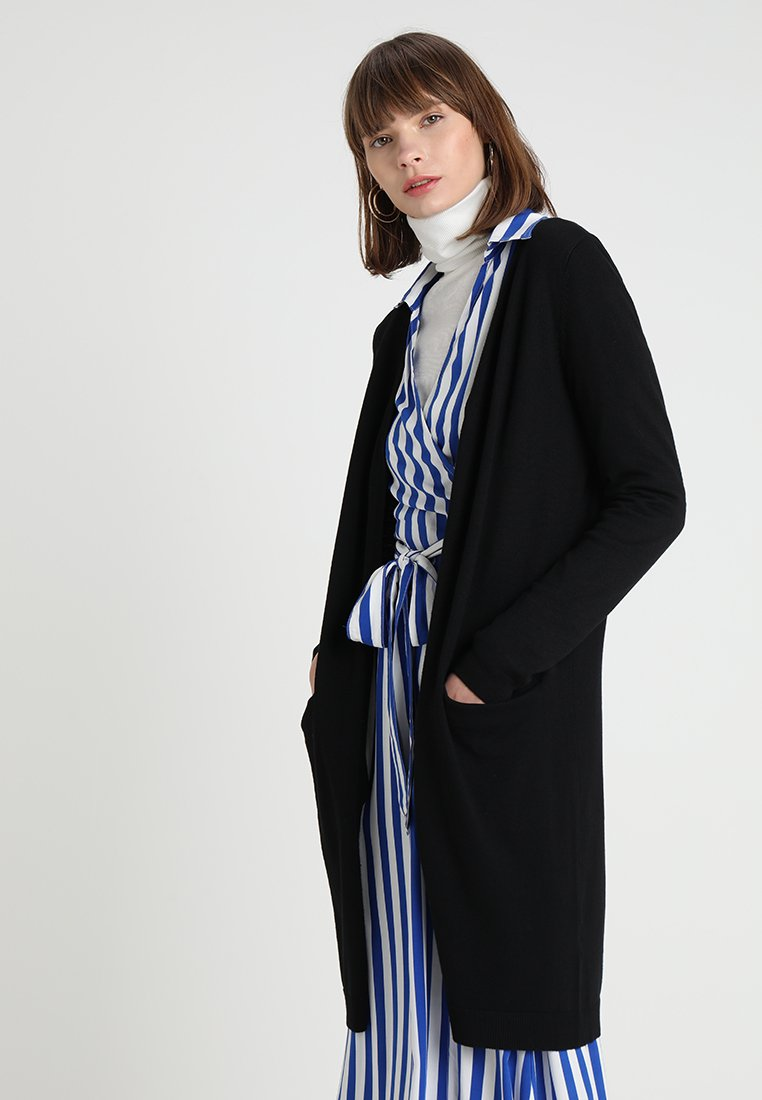 Saint Tropez - LONG CARDIGAN WITH POCKETS - Neuletakki - black
