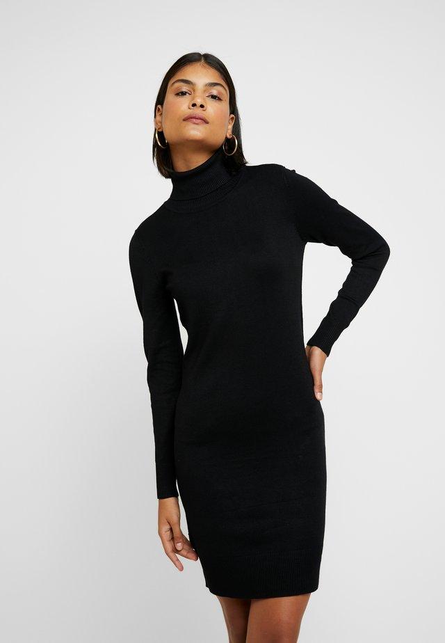 DRESS HIGH NECK - Abito in maglia - black