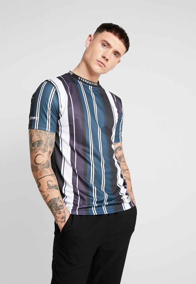 BIT RATE STRIPE TEE - Print T-shirt - black