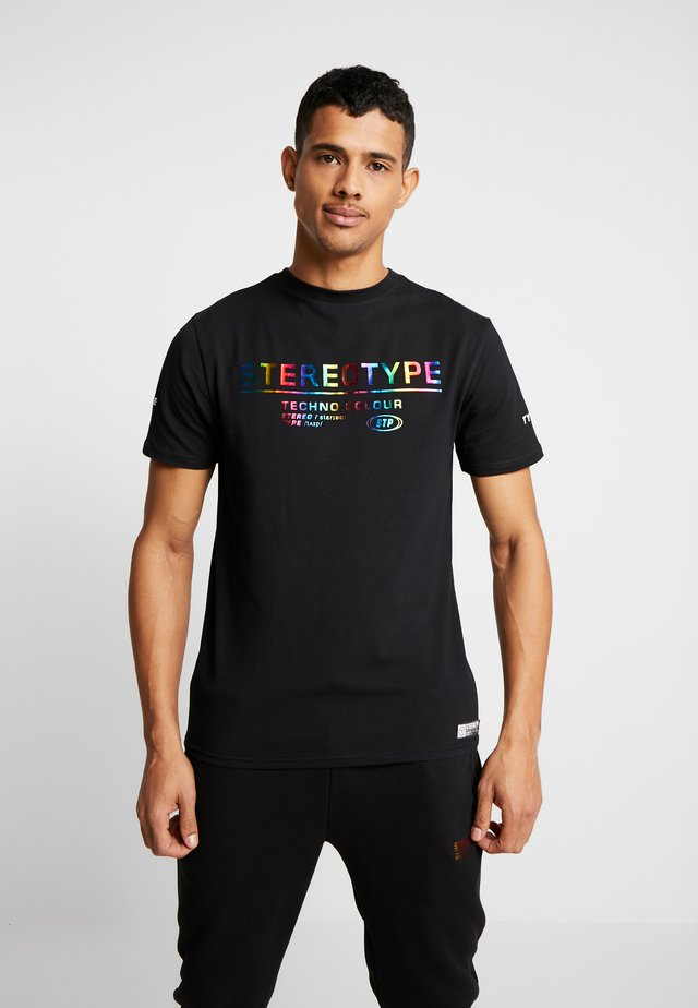 METALIC TEE - Print T-shirt - black