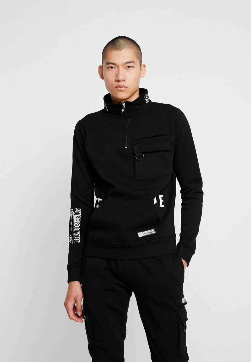STEREOTYPE - TRANSMIT HALF ZIP - Sweatshirt - black