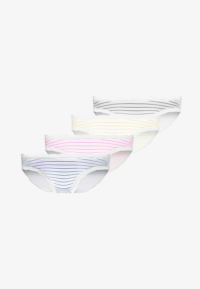 STRIPE OUT KNICKER BOX 4 PACK - Kalhotky - white/pink/black