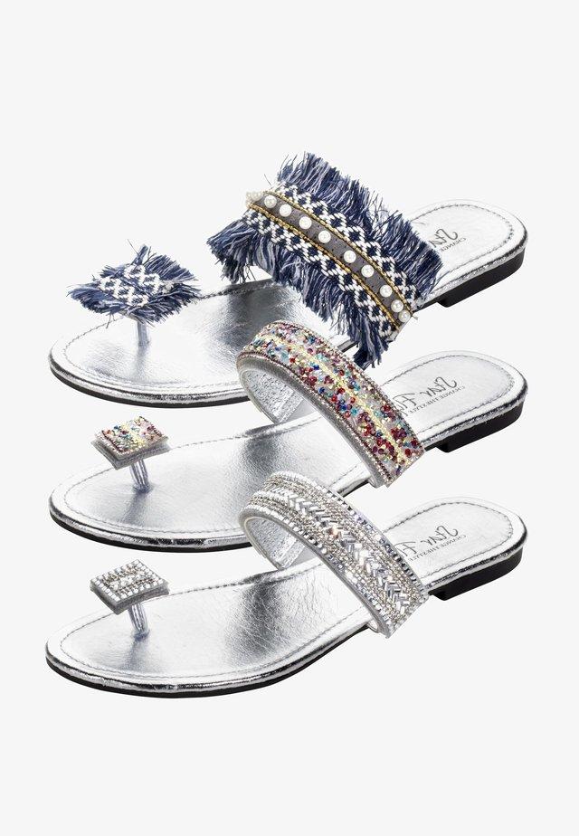 3in1 - T-bar sandals - silber