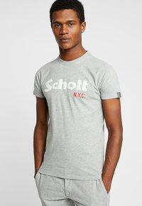 Schott - LOGO 2 PACK - T-shirt imprimé - navy/grey - 1