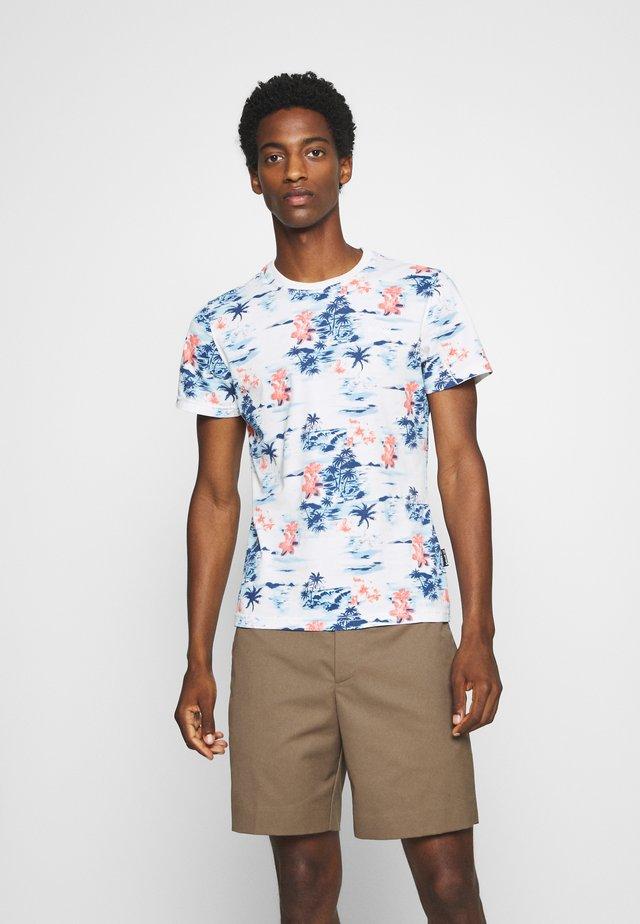 Print T-shirt - blue hawai