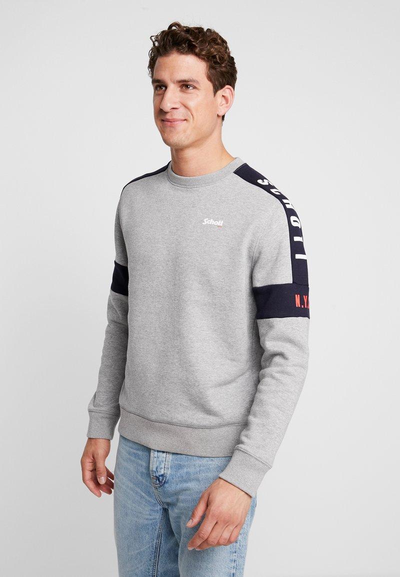 Schott - CREW  - Sweatshirt - heather grey/navy