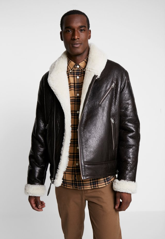 LCHAMPTON - Leather jacket - brown